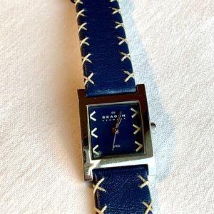 Skagen Denmark Stainless Blue Leather Watch